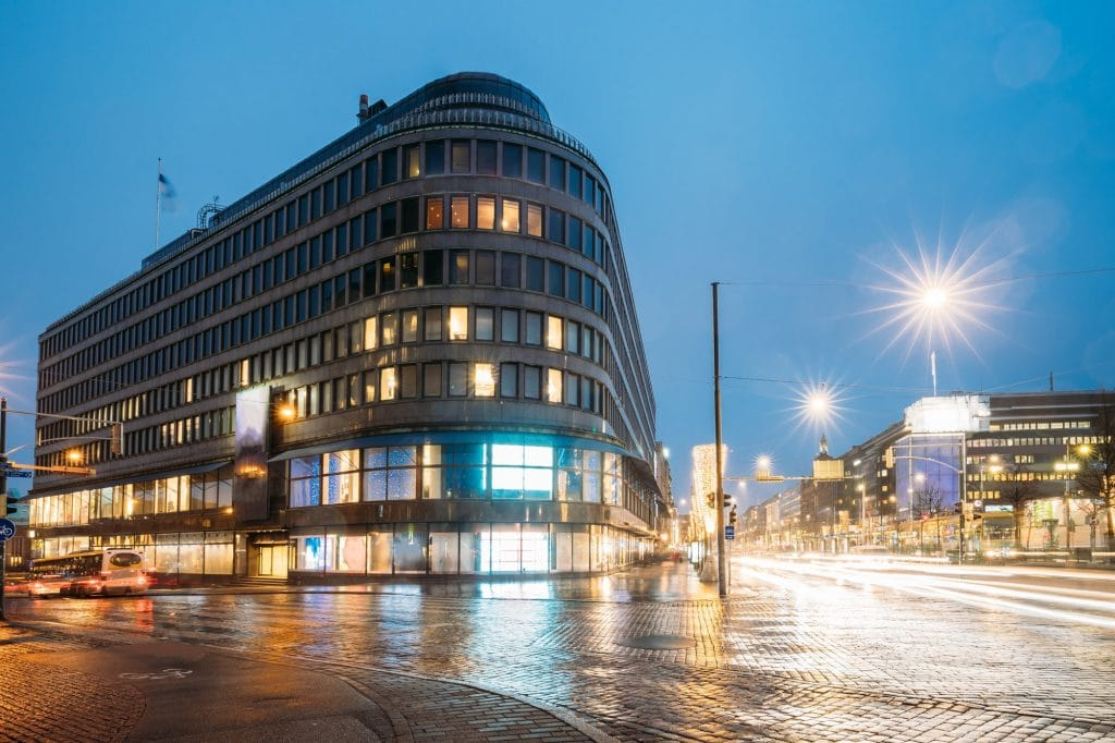 Helsinki, Finland. Hotel And Shopping Center On Crossroad Of Kai